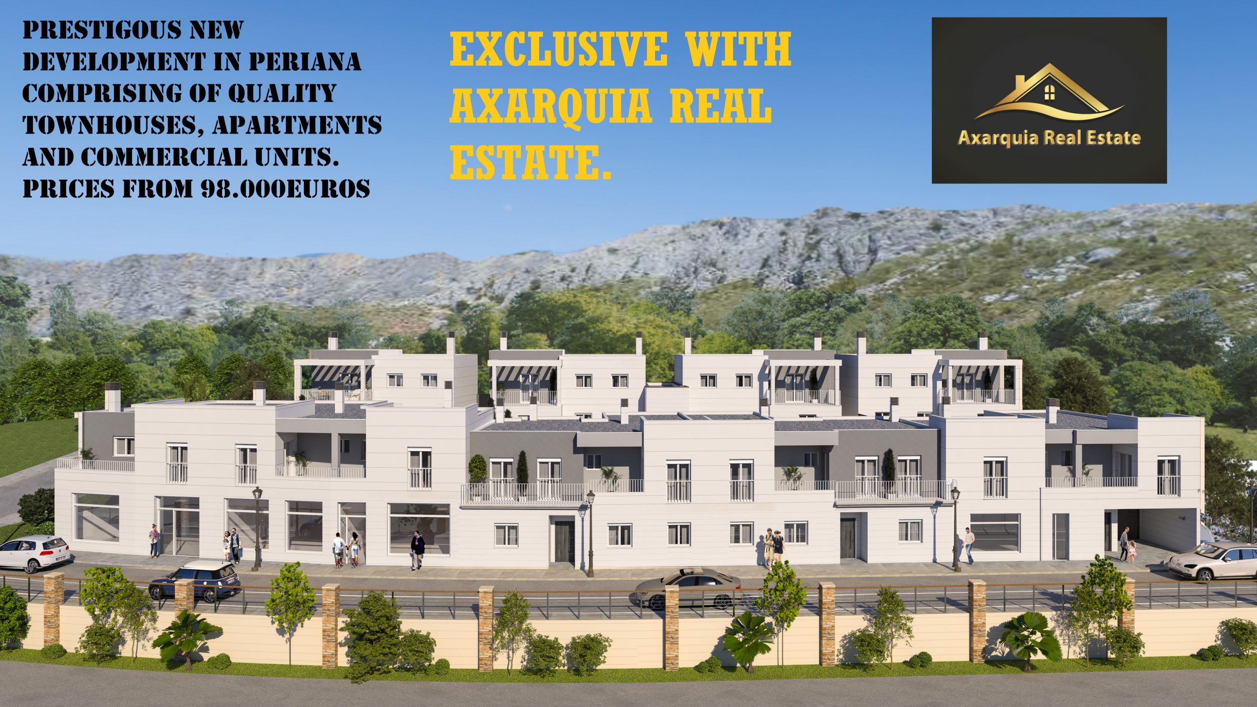 PRESTIGIOUS NEW DEVELOPMENT IN PERIANA COMPROMISING OF QUALITY TOWNHOUSES, APARTMENTS AND COMMERCIAL UNITS. PRICES FROM 98.000euros. Completion 2021.